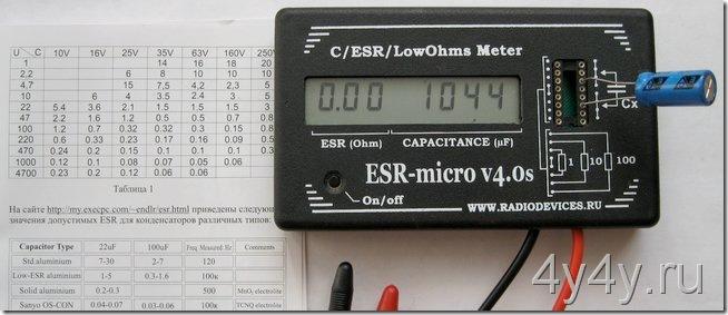 ESR meter и таблица допустимых ESR